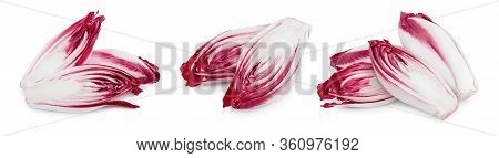 Red Chicory Or Radicchio Isolated On White Background, Set Or Collection