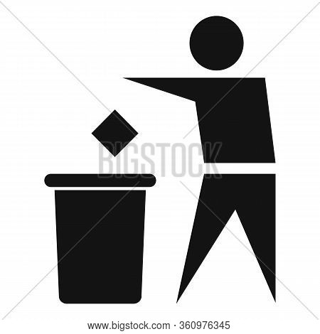 Man Throw Garbage Icon. Simple Illustration Of Man Throw Garbage Vector Icon For Web Design Isolated