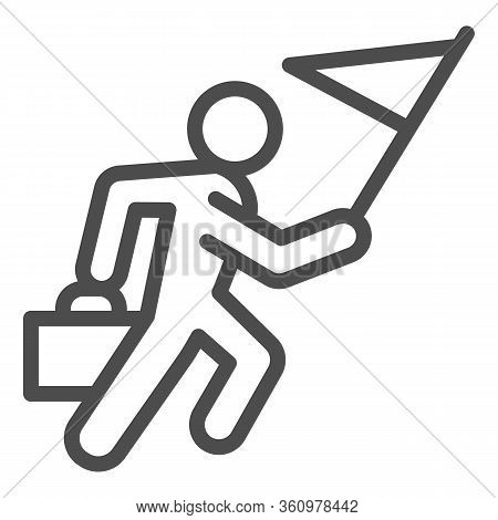 Career Races Line Icon. Running Man With Flag And Briefcase Outline Style Pictogram On White Backgro