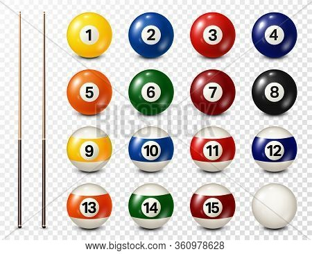 Billiard, Pool Balls With Numbers Collection. Realistic Glossy Snooker Ball. White Background. Vecto