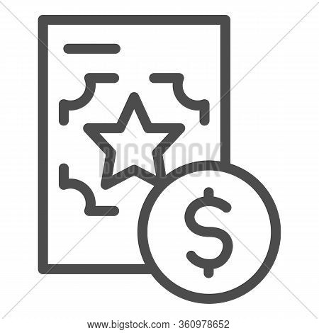 Best Recruitment Offer Line Icon. Document With Valuable Info Outline Style Pictogram On White Backg