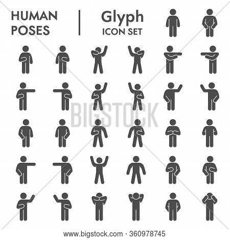 Human Poses Solid Icon Set. Figure Symbols Collection Or Vector Sketches. Basic Body Language Signs
