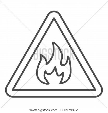 Triangle With Fire Symbol Thin Line Icon. Flammable Caution Sign Outline Style Pictogram On White Ba