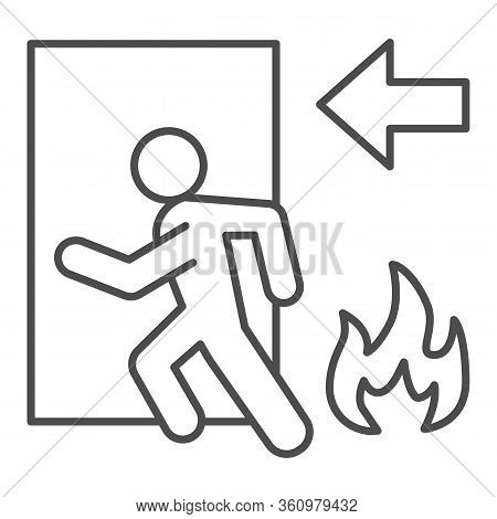 Fire Exit Thin Line Icon. Emergency Evacuation Outline Style Pictogram On White Background. Flame An