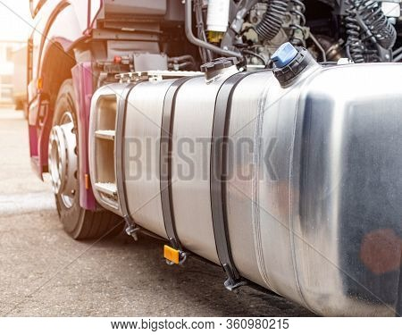 The Fuel Tank Of A Truck Of A Modern European Tractor. The Concept Of Fuel Economy And The Cost Of D