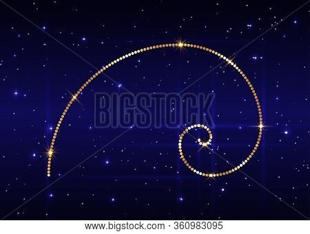 Golden Ratio. Fibonacci Number, Golden Section, Divine Proportion And Shiny Gold Spiral, Vector Isol