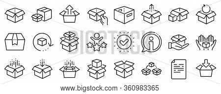 Package, Delivery Boxes, Cargo Box. Box Line Icons. Cargo Distribution, Export Boxes, Return Parcel
