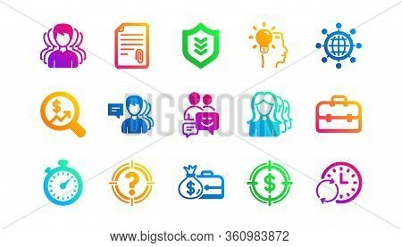Group Of People, Portfolio And Teamwork Icons. Business Icons. User Profile Classic Icon Set. Gradie