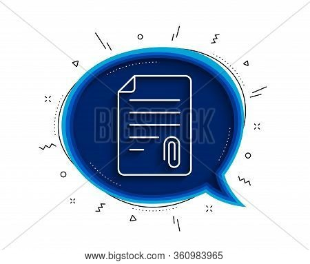 Cv Attachment Line Icon. Chat Bubble With Shadow. Document File Symbol. Thin Line Attachment Icon. V