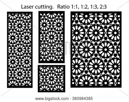 Set Of Decorative Geometric Vector Panels For Laser Cutting. Template For Interior Partition In Arab