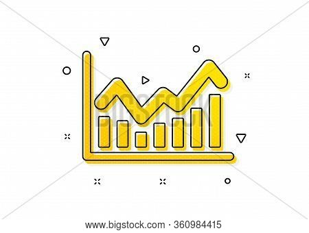 Economic Graph Sign. Financial Chart Icon. Stock Exchange Symbol. Business Investment. Yellow Circle