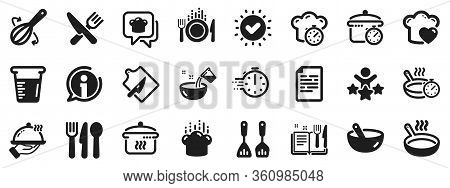 Boiling Time, Frying Pan And Kitchen Utensils. Cooking Icons. Fork, Spoon And Knife Icons. Recipe Bo