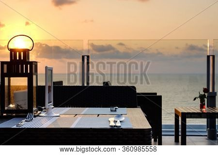 Sundown, Sunset Sea View Rooftop Bar And Restaurant Dining, Pattaya Beach. Thailand. Asean. South Ea