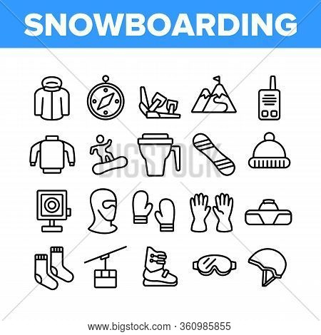 Snowboarding Equipment Collection Icons Set Vector. Mask And Snowboard, Shoes And Helmet, Gloves And