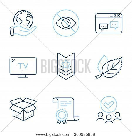 Not Looking, Leaf And Open Box Line Icons Set. Diploma Certificate, Save Planet, Group Of People. Sh