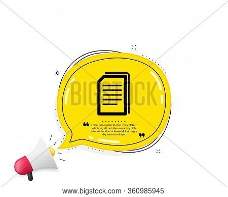Copy Documents Icon. Quote Speech Bubble. Copying Files Sign. Paper Page Concept Symbol. Quotation M