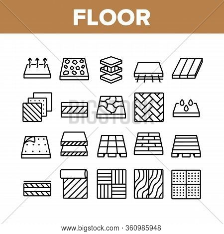 Floor And Material Collection Icons Set Vector. Parquet And Carpet, Laminate And Marble, Linoleum Ro