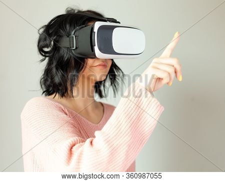Girl With Virtual Augmented Reality Glasses, Virtual World Concept, Woman In Vr Headset Touching Vir
