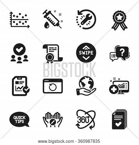 Set Of Science Icons, Such As Handout, Question Mark. Certificate, Approved Group, Save Planet. Quic