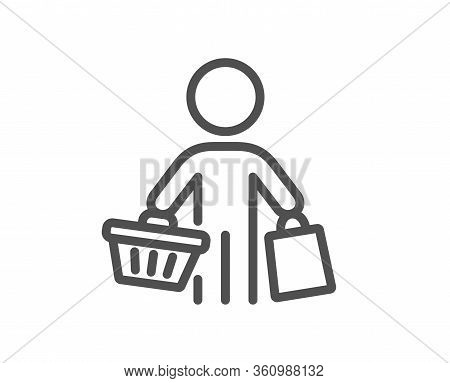 Buyer With Shopping Cart Line Icon. Customer With Bags Sign. Supermarket Client Symbol. Quality Desi