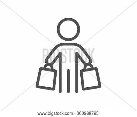 Buyer With Shopping Bags Line Icon. Customer Sign. Supermarket Client Symbol. Quality Design Element