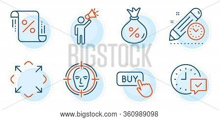 Face Detect, Loan Percent And Buy Button Signs. Loan, Select Alarm And Maximize Line Icons Set. Proj