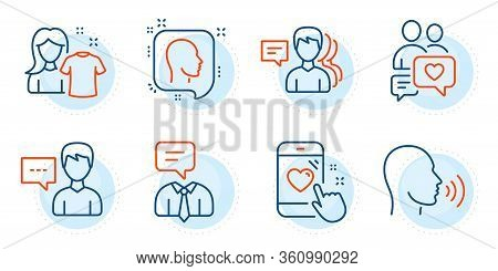 Dating Chat, People And Support Service Signs. Heart Rating, Human Sing And Clean Shirt Line Icons S