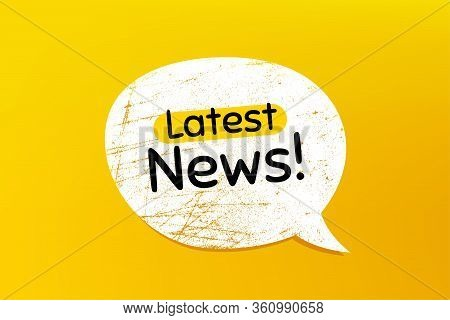 Latest News Symbol. Banner With Grunge Speech Bubble. Media Newspaper Sign. Daily Information. Chat