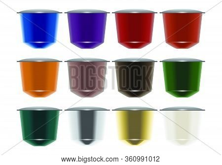 A Vector Illustration Of A Collection Of Colorful Instant Espresso Coffee Capsules Sealed With Foil