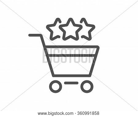 Shopping Cart Stars Rating Line Icon. Customer Rank Sign. Supermarket Ranking Symbol. Quality Design
