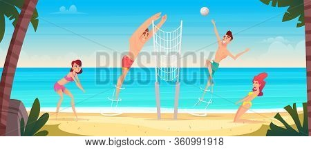 Happy Young People Play Volleyball On A Sandy Sea Beach. Volleyball Competitions In The Sand.