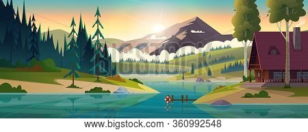Hut By The River In Frjnt Of Rocky Mountains. House On The Shore Of A Clean Mountain Lake. Modern Ca