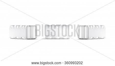 Blank White Six Beer Can Cardboard Pack Mockup, Front And Side View, 3d Rendering. Empty Paperboard