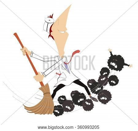 Cartoon Doctor With A Big Broom Sweeps Out Viruses Illustration. Smiling Doctor With Broom Sweeps Ou