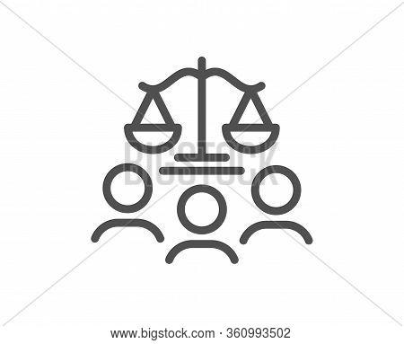Court Jury Line Icon. Justice Scales Sign. Judgement Law Symbol. Quality Design Element. Editable St