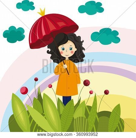 Colorful Illustration With A Girl With Umbrella For Your Design