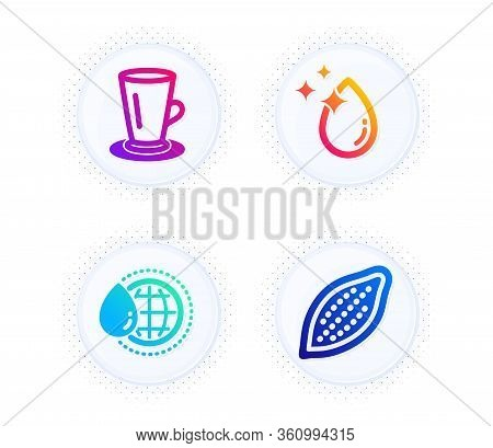 Teacup, World Water And Water Drop Icons Simple Set. Button With Halftone Dots. Cocoa Nut Sign. Tea