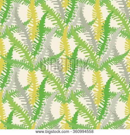 Fern Leaves Vector Seamless Pattern Background. Forest Plant Frond Backdrop. Hand Drawn Green, Silve