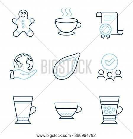 Frappe, Coffee Cup And Americano Line Icons Set. Diploma Certificate, Save Planet, Group Of People.