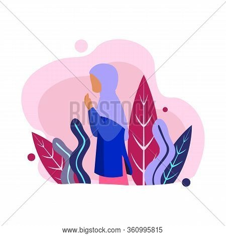 Moslem In Hijab Outline Icons. Arabian Woman Sign For Website Or Mobile Application, Hijab Women Bri