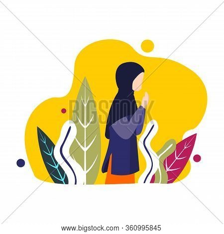 Moslem In Hijab Outline Icons. Arabian Woman Sign For Website Or Mobile Application, Women Pray Desi