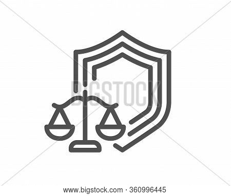 Justice Scales Line Icon. Judgement Scale Sign. Law Protection Symbol. Quality Design Element. Edita