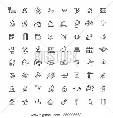 Outline Web Icons Set - Real Estate - Vector