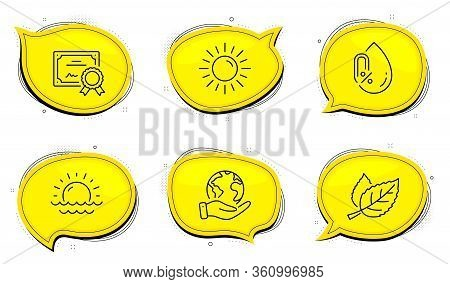 No Alcohol Sign. Diploma Certificate, Save Planet Chat Bubbles. Sunset, Leaf And Sun Line Icons Set.