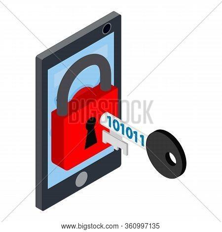 Unlock Smartphone Icon. Isometric Illustration Of Unlock Smartphone Vector Icon For Web