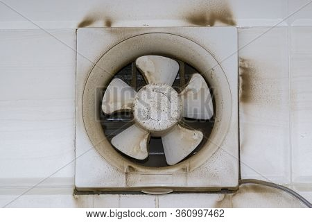 Exhaust Air Blower, Fan Exhaust Fan Or Exhaust Kitchen Ventilator With Dirty Dust Closeup. Selective
