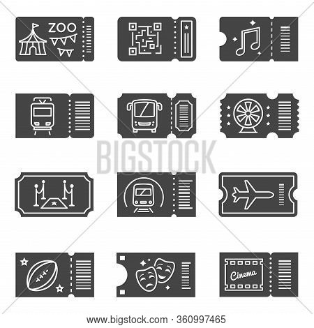 Ticket Icon Set, Black Coupons For Event Entry. Cinema And Theater Admission Or Pass. Vector Line Ar