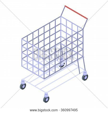 Mall Shop Cart Icon. Isometric Of Mall Shop Cart Vector Icon For Web Design Isolated On White Backgr