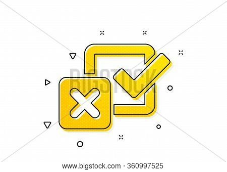 Survey Choice Sign. Checkbox Icon. Business Review Symbol. Yellow Circles Pattern. Classic Checkbox