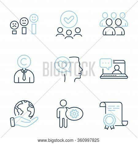 Romantic Talk, Copyrighter And Group Line Icons Set. Diploma Certificate, Save Planet, Group Of Peop